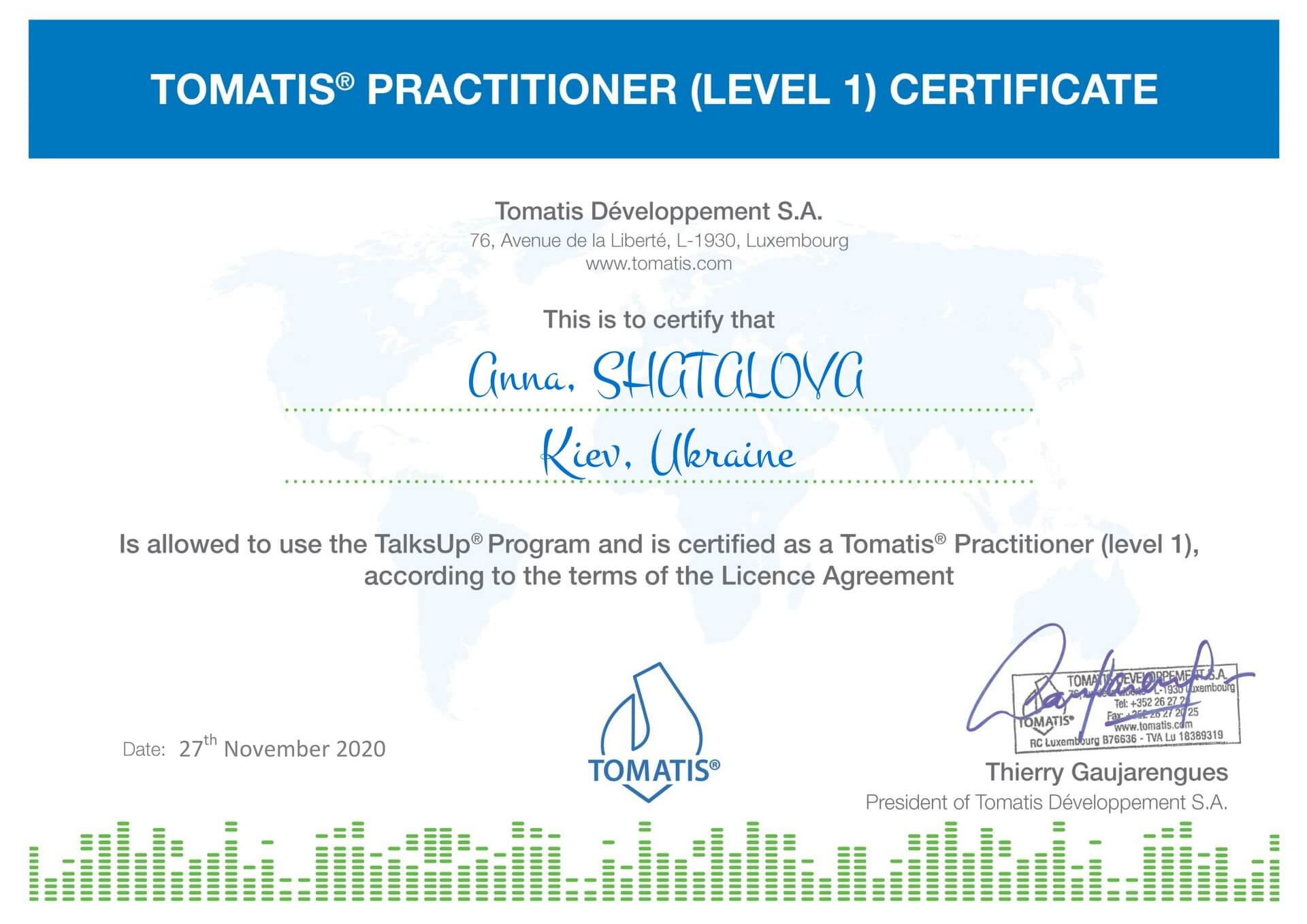Tomatis Practitioner (Level 1) Certificate